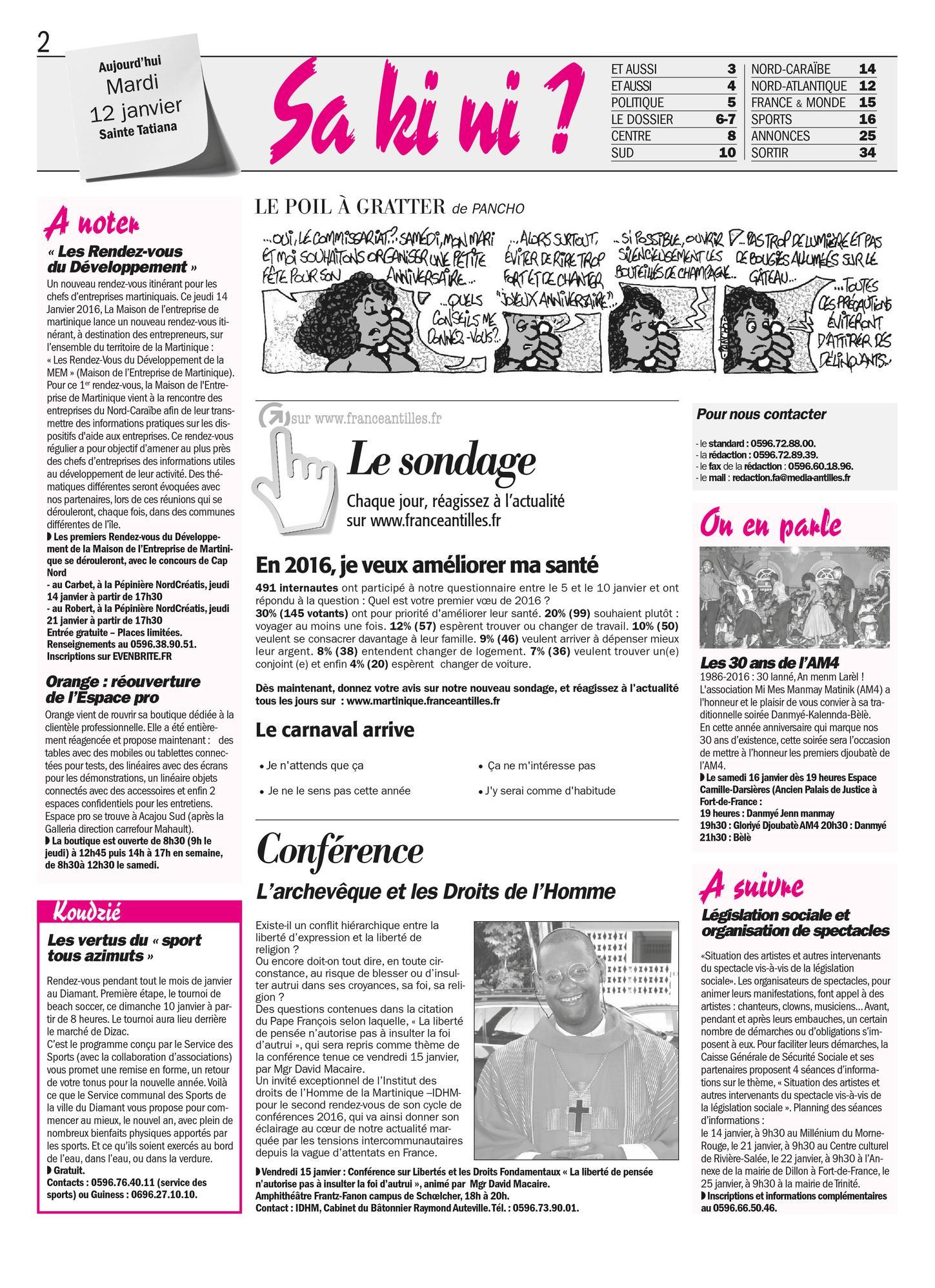 Journal Sa ki ni? du mardi 12 Janvier 2016